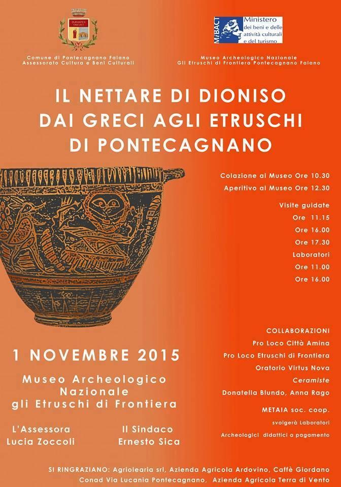 #DOMENICALMUSEO continuano gli appuntamenti a Pontecagnano, protagonista il vino