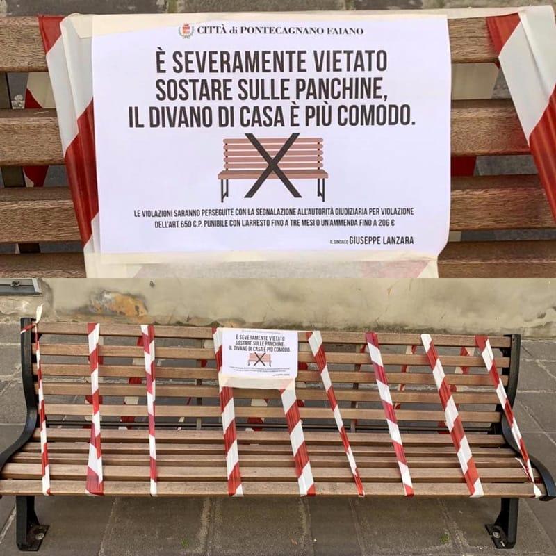 """Coronavirus, panchine transennate a Pontecagnano: """"Il divano di casa è più comodo"""""""