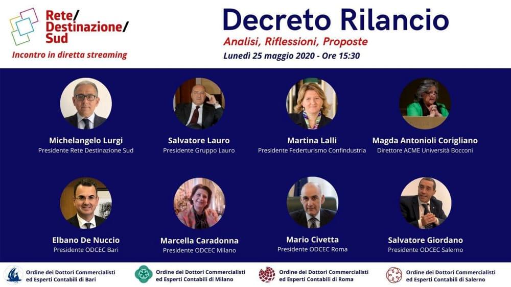 """""""Decreto Rilancio: analisi, riflessioni, proposte"""": il webinar promosso da ODCEC e Rete Destinazione Sud"""