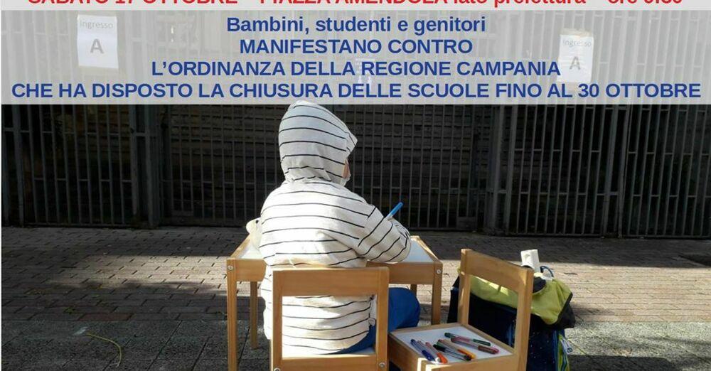 Scuole chiuse da De Luca, domani la protesta dei genitori a Salerno