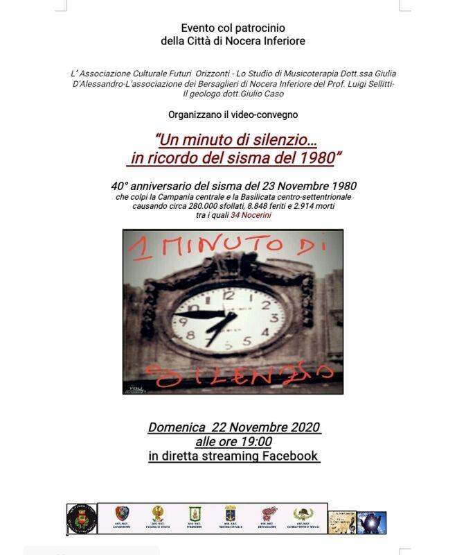 """""""Un Minuto di Silenzio… In Ricordo del Sisma del 1980"""": il convegno in diretta streaming da Nocera"""