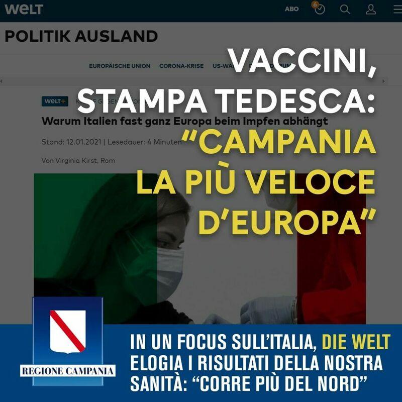 """Quotidiano tedesco elogia la Campania sui vaccini, De Luca: """"Corriamo più di tutti"""""""