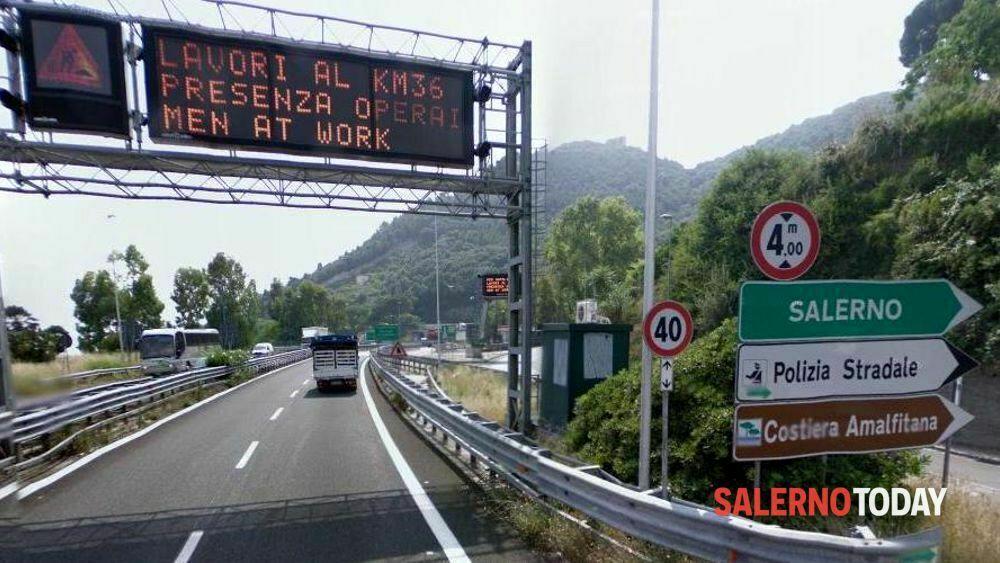 Lavori sull'A3, chiusure nottune nel tratto Cava-Salerno: le strade alternative