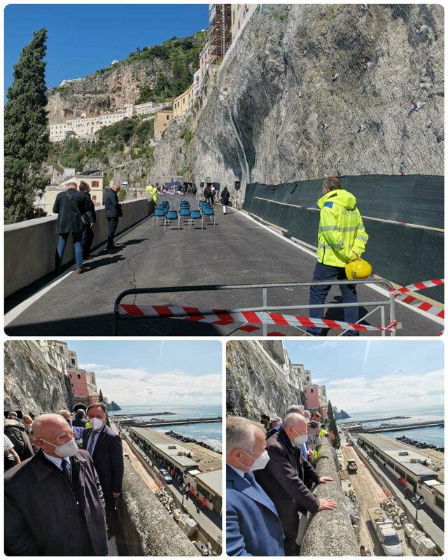 Frana ad Amalfi: oggi riaperta la strada, alla cerimonia anche De Luca e Cancelleri
