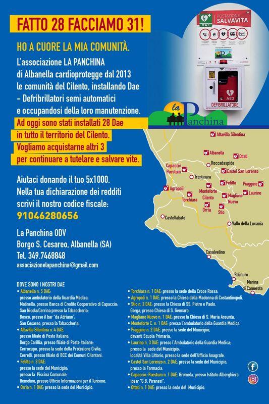 """Albanella, nuovi defibrillatori sul territorio: parte la campagna dell'associazione """"La Panchina"""""""