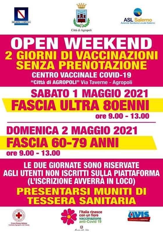 """Agropoli, """"open weekend"""" di vaccinazioni senza prenotazioni per over 80 e fascia 60-79"""