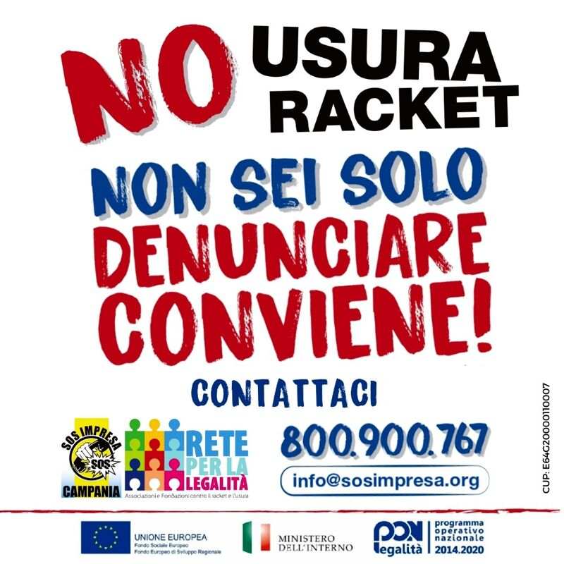 "Campania, Sos Impresa ""adotta"" gli imprenditori vittime di usura e racket"