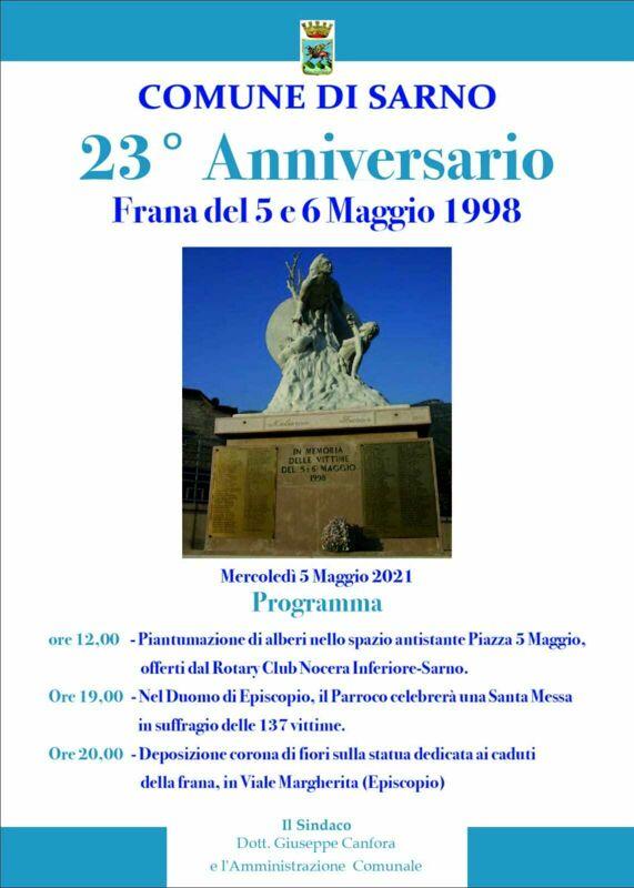 Frana a Sarno, domani il 23esimo anniversario in ricordo delle 137 vittime