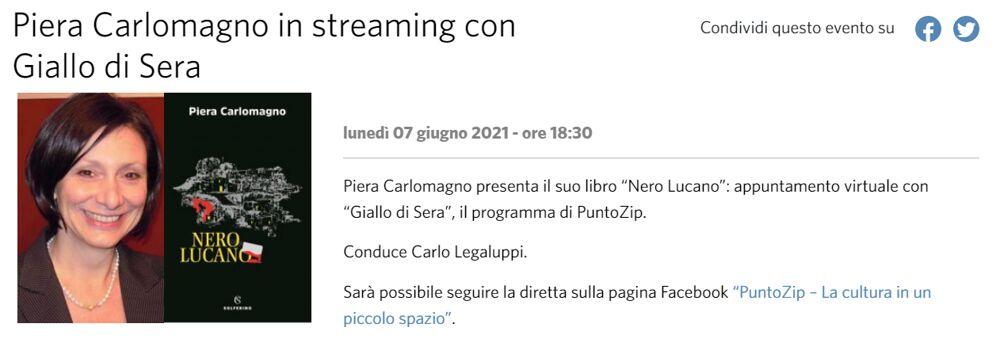 """""""Nero Lucano"""", in streaming la presentazione del libro di Piera Carlomagno"""