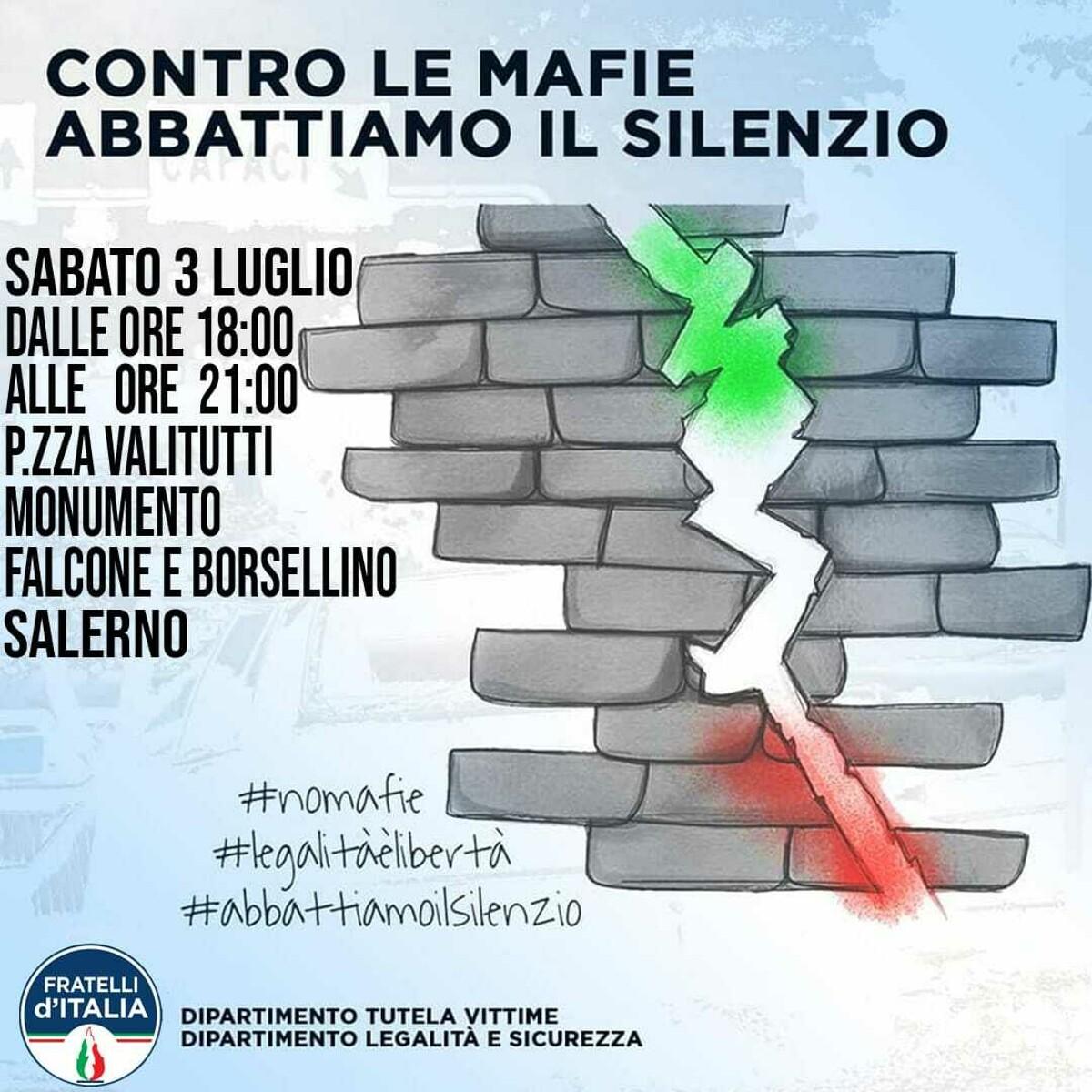 Onda tricolore a Salerno, Fratelli d'Italia scende in piazza contro le mafie