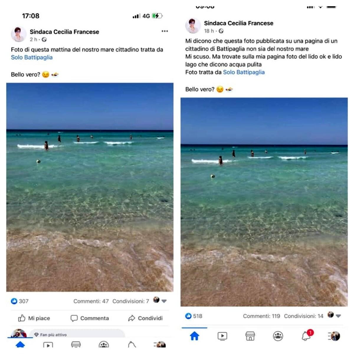 Battipaglia, il sindaco pubblica la foto del mare del Salento e si scusa