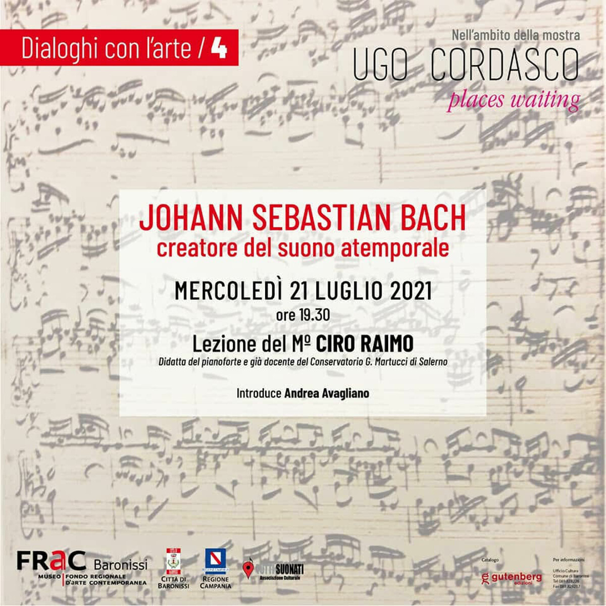 """Al Museo Frac """"Johann Sebastian Bach. Creatore del suono atemporale"""": lezione del maestro Ciro Raimo"""