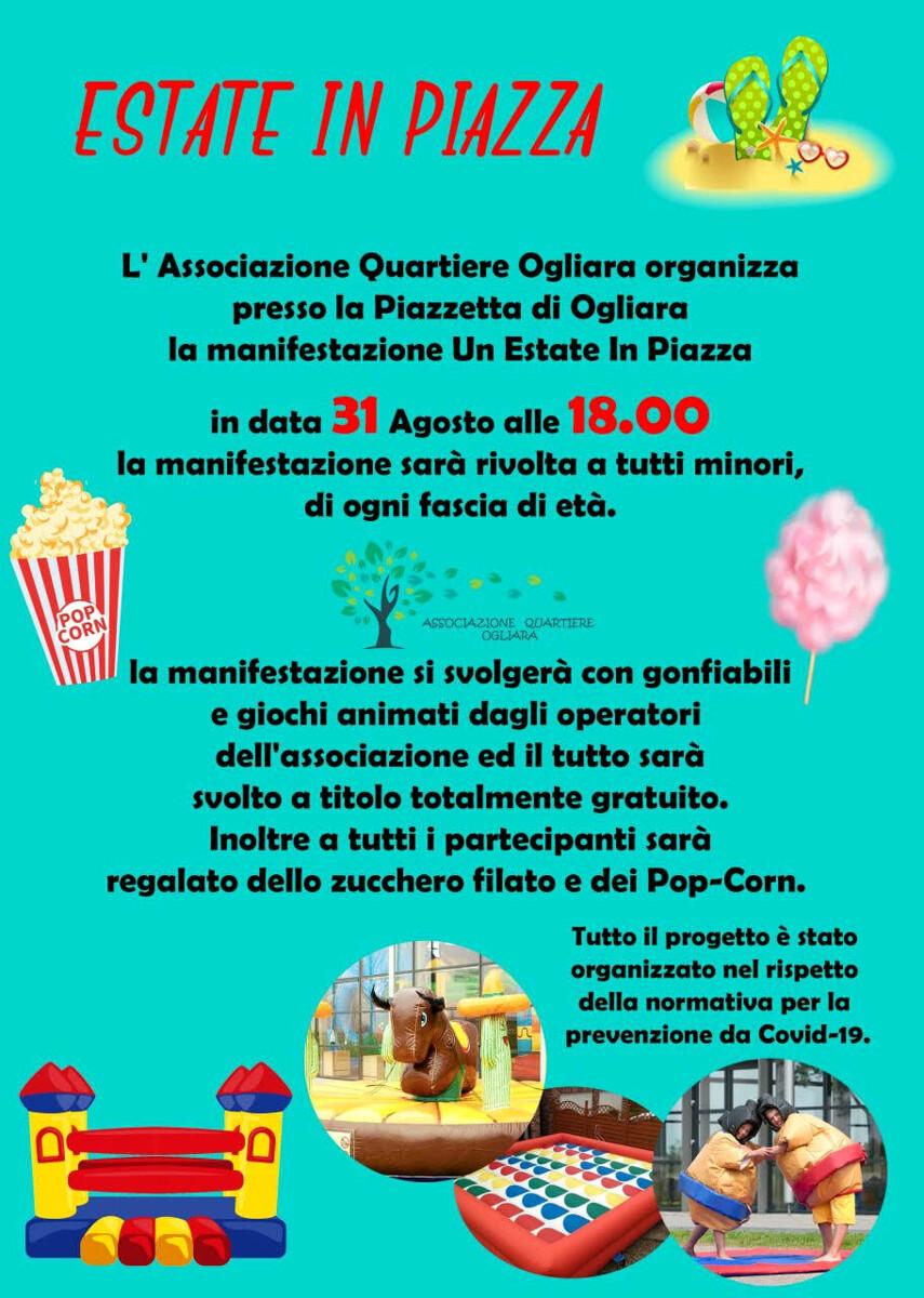 """""""Estate in Piazza"""" ad Ogliara: poc-corn, zucchero filato e divertimento per i più piccoli"""