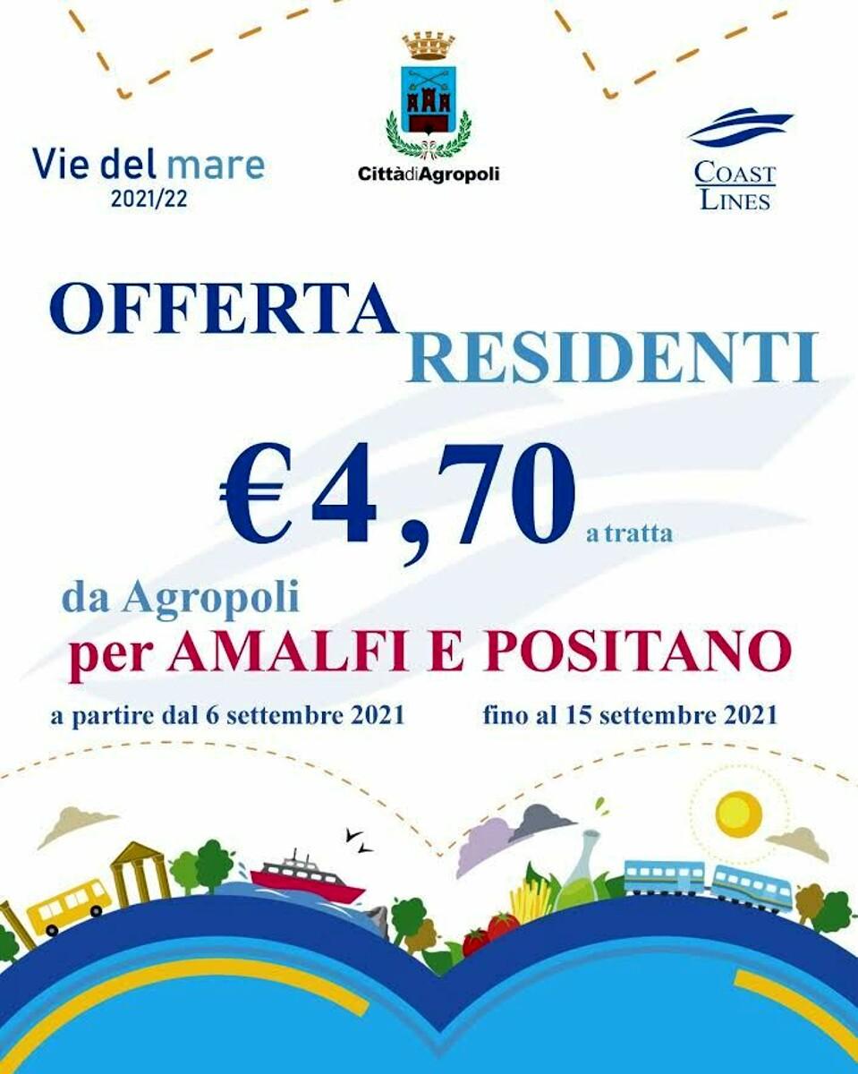 Traghetti da Agropoli verso la Costiera Amalfitana: sconti per i residenti