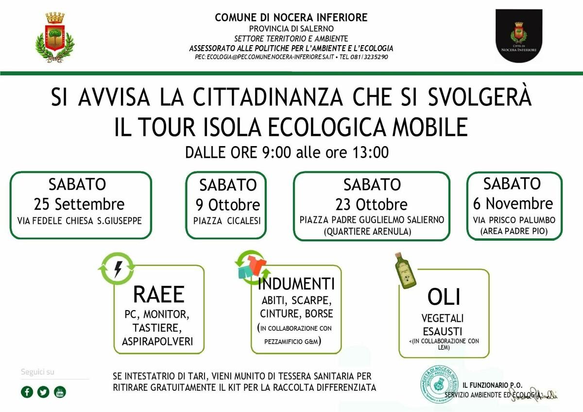 Nocera Inferiore, da sabato parte il tour cittadino dell'isola ecologica mobile
