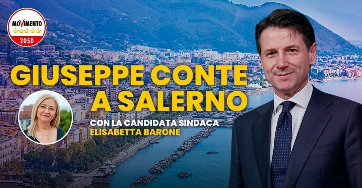 Elezioni 2021, comizio di Giuseppe Conte a Salerno per Elisabetta Barone Sindaco