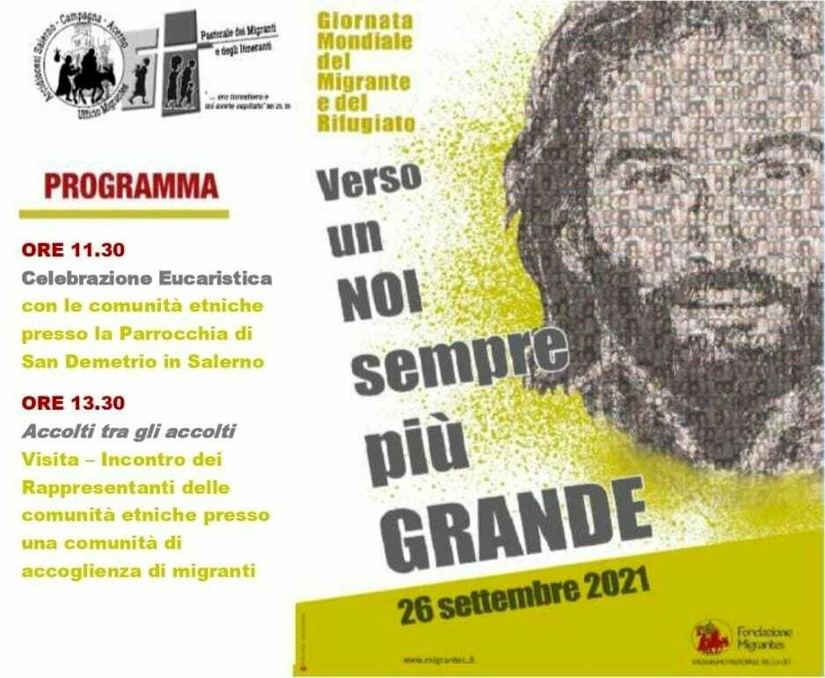 """""""Verso un noi sempre più grande"""", il programma della 107° Giornata mondiale del migrante e del rifugiato a Salerno"""