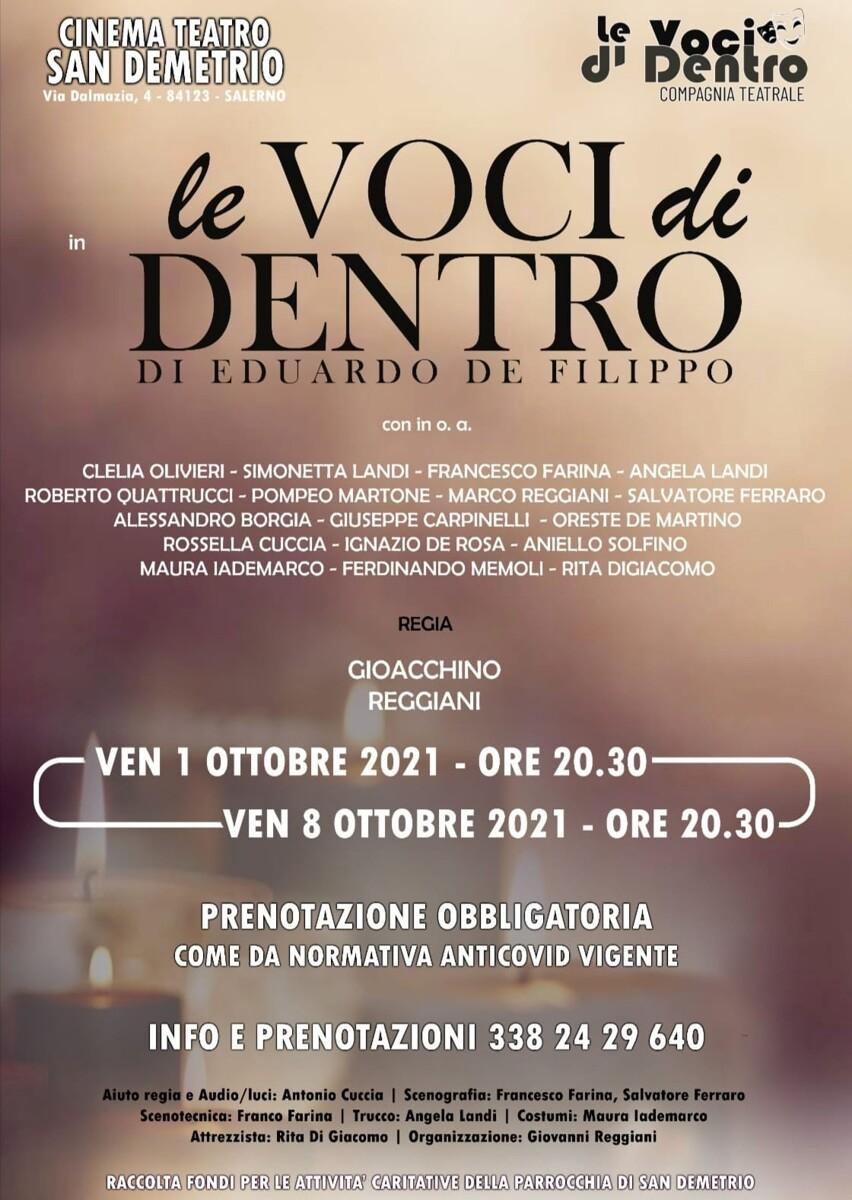 """""""Le Voci di Dentro"""" in scena al Cinema Teatro San Demetrio, ricavato devoluto in beneficenza"""