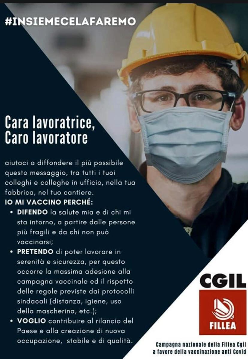 """""""Insieme ce la faremo"""": la campagna nazionale Fillea Cgil a favore della vaccinazione anti-covid"""