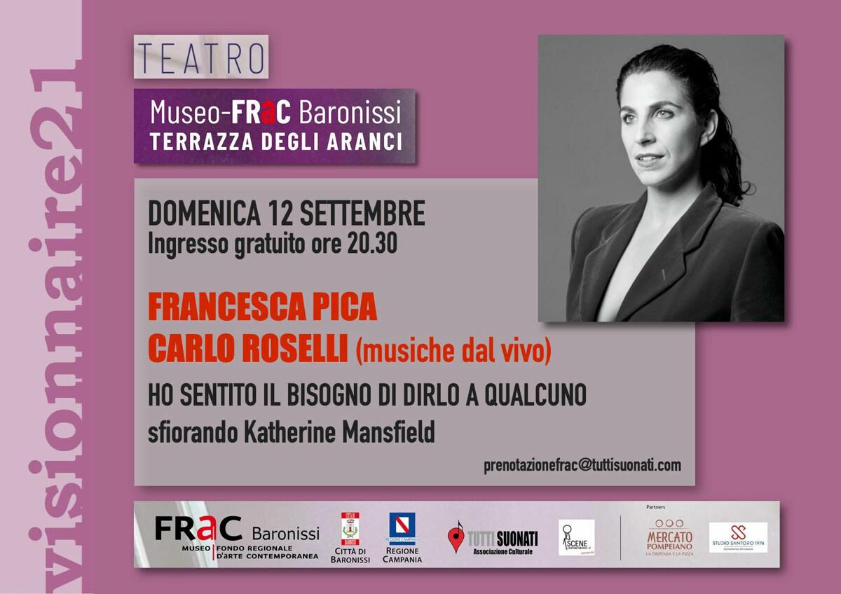 Visionnaire21 Teatro: al Museo Frac il reading musicale con l'attrice Francesca Pica