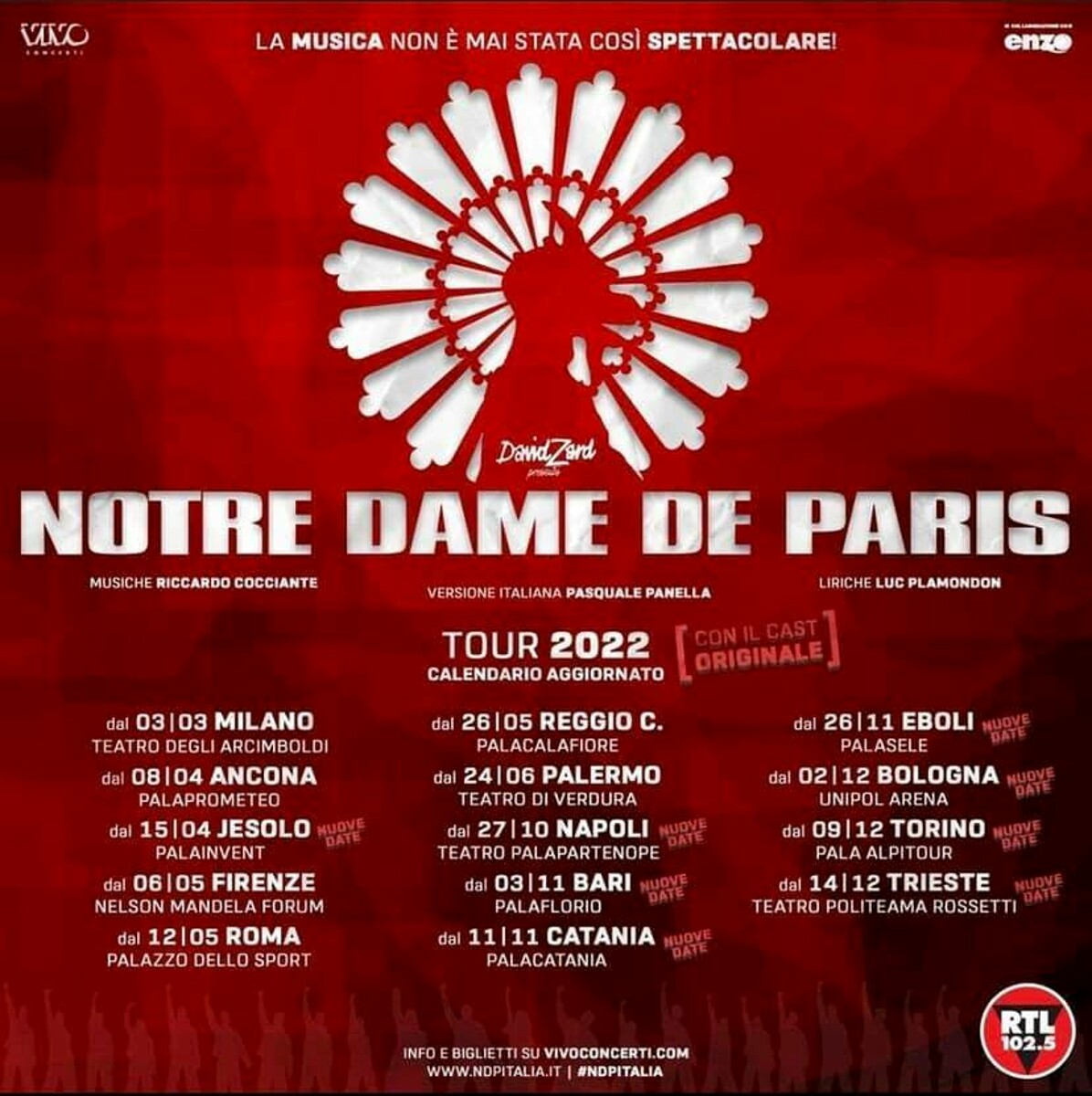 Notre Dame de Paris al Palasele: ecco la nuova data dello spettacolo slittato